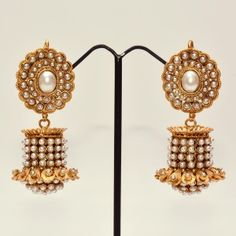 Designer jhumkas with pearls