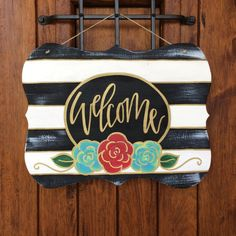 Hey, I found this really awesome Etsy listing at https://www.etsy.com/listing/455202102/welcome-door-hanger-hand-painted-door