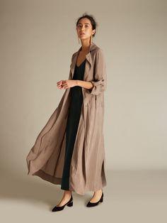 Shadow-stripe long trench coat by Raquel Allegra, Equipment dress and Chloé ballerinas