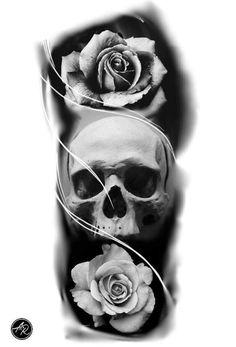 Skull Rose Tattoos, Skull Sleeve Tattoos, Rose Tattoos For Men, Body Art Tattoos, Tattoos For Guys, Clock Tattoo Design, Skull Tattoo Design, Tattoo Sleeve Designs, Mangas Tattoo
