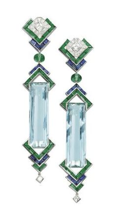 A PAIR OF UNIQUE AQUAMARINE, EMERALD, SAPPHIRE AND DIAMOND EAR PENDANTS, BY PRINCE DIMITRI