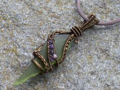 Long green sea glass   bronze wire wrapped pendant by sparklegem, $55.00