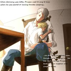 Prussia and little Germany...awwwww they're so cute like this hehe you're such an awesome big brother