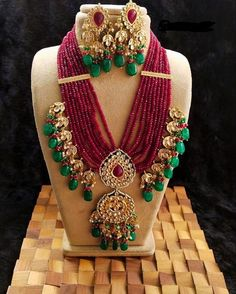 Excited to share this item from my shop: VeroniQ Trends-Designer Rani Haar,Multistrand Gems Necklace Set in Fancy Jewellery, Gold Jewellery Design, Stylish Jewelry, Fashion Jewelry, Kundan Jewellery Set, Fashion Necklace, Indian Jewelry Sets, Bridal Jewelry Sets, Bridal Jewellery
