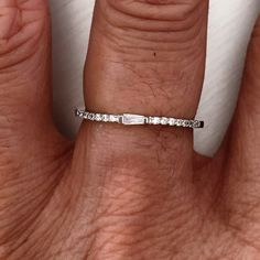 Sterling Silver Tiny CZ Band Ring