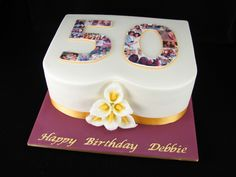 Happy 50th Birthday Debbie! Debbie's daughter, Victoria, organised this cake with me. It is a white chocolate mud cake with white chocolate ganache filling and covered in white fondant. Victoria did a wonderful job arranging the collage of photos and getting them printed as edible images.  I made Debbie's favourite flowers, calla lillies, from fondant.