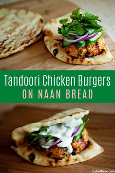 Tandoori Chicken Burgers - a tandoori chicken burger served on naan with a mint yogurt sauce and topped with cucumber, cilantro, and red onion. These are flavorful and delicious. Naan, Pollo Tandoori, Tandoori Chicken, Tandoori Paste, Indian Food Recipes, Asian Recipes, Healthy Recipes, Lactose Free Recipes, Chicken Tikka Masala Rezept