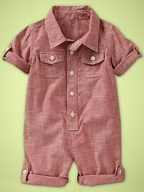red chambray romper for my babies. All colors will be worn.