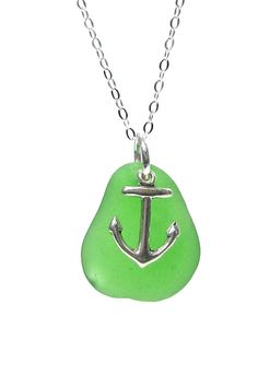 Anchor Charm Sea Glass Necklace – Fishers Finery