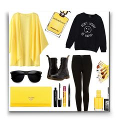 """Yellow and Black"" by fmapplegate ❤ liked on Polyvore featuring Topshop, Prada, Dr. Martens, Burt's Bees, Marc Jacobs, Trish McEvoy, Strangelove NYC and Maybelline"