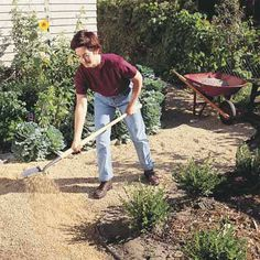 DIY Tip of the Day: Gravel Path. Gravel is inexpensive and easy to work with, and makes an excellent garden path. Dig the path at least 6 in. deep and edge it with vinyl or steel. Lay down landscape fabric to block weeds. Cover the fabric with 3 in. of sand, then 3 in. of 3/8-in. crushed limestone or washed pea gravel. Smaller stones make a path that's denser, more attractive, weed resistant, and easier to walk on.