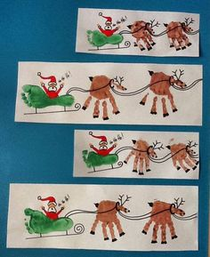 Creative Handprint and Footprint Crafts for Christmas - Christmas Activities For Kids - Reindeer Handprint, Reindeer Craft, Santa And Reindeer, Santa Sleigh, Handprint Christmas Art, Christmas Activities, Christmas Projects, Simple Christmas, Kids Christmas