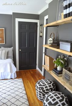 similar color scheme in my home, dark gray walls, white trim. love the darker gray near black doors...now to refinish my wood floors.