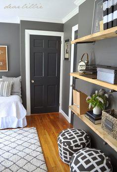 similar color scheme in my home, dark gray walls, white trim. love the darker gray near black doors...now to refinish my wood floors.
