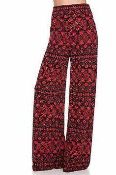 Tribal Palazzo red/black yoga pants fold-over waist flowy and stylish SZ: XL
