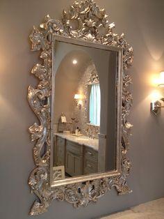 Silver leaf over gold mirror frame--gorgeous! Mirror Photo Frames, Gold Framed Mirror, Diy Mirror, French Mirror, Sunburst Mirror, Wall Mirrors, Picture Frame, Spiegel Design, Living Room Decor