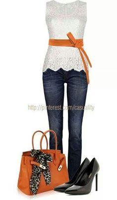 Orange..love the feminine top and orange belt