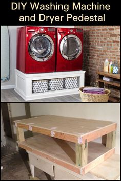 DIY Washing Machine and Dryer Pedestal Still bending down to get your laundry? Build this easy DIY washing machine and dryer pedestal. Washer And Dryer Stand, Washer And Dryer Pedestal, Laundry Room Pedestal, Laundry In Bathroom, Washing Machine Pedestal, Washing Machine Stand, Washing Machine And Dryer, Washing Machines, Dryer Machine