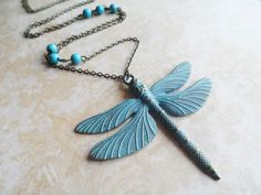 Steampunk necklace with a large patina dragonfly pendant and turquoise beads, nature jewelry, Selma Dreams vintage inspired gifts by SelmaDreams on Etsy