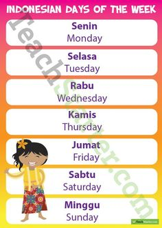 Days of the Week – Indonesian Language Poster Teaching Resource