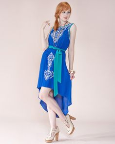 Blue ethnic print embroidered high low dress