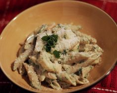 penne with spinach and shrimp alfredo