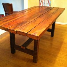 Barn Wood Table - would love this for the dining room Barn Table, Deck Table, Rustic Table, Farmhouse Table, Dining Room Table, Kitchen Tables, Barrel Furniture, Deck Furniture, Barn Storage
