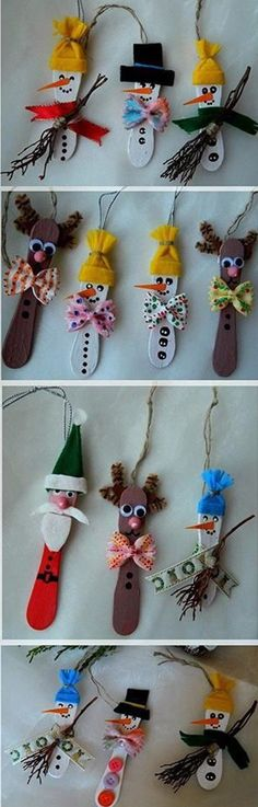 Christmas characters on a Popsicle. Funny, creative and very simple to do with things that you can and will always find inside the home.