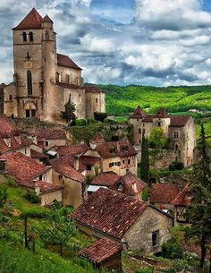 """Saint-Cirq-Lapopie is a commune in the Lot department in south-western France. It is a member of the Les Plus Beaux Villages de France (""""The most beautiful villages of France"""") associat… Places Around The World, Oh The Places You'll Go, Places To Travel, Places To Visit, Around The Worlds, Beautiful World, Beautiful Places, La Roque Gageac, Belle France"""