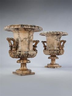 """A PAIR OF ALABASTER NEO-CLASSICAL VASES Ca1840 Italy. 21.5""""H x 17.3""""W."""