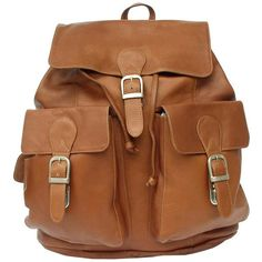 Buckle Backpack Leather ($193) ❤ liked on Polyvore featuring bags, backpacks, buckle backpack, leather bags, leather backpack, real leather bags and brown bag