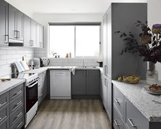 One of the most common kitchen layouts is the U-shaped kitchen. This layout is great for both large and small kitchens as it allows for ample storage and surrounds you with benchtop space, which means there's plenty of room to prepare and cook! . . . #kaboodle #kaboodlekitchen #ushapedkitchen #kitchendesign #kitchenlayout #designideas #interiorsinspo #terrazzolabenchtop #smokedgrey #alpineprofile Grey Kitchen Inspiration, Kitchen Furniture, Furniture Design, Galley Kitchen Design, U Shaped Kitchen, Kitchen Gallery, Kitchen Cabinets, Interior, Kitchen Layouts
