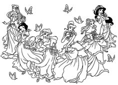 To print this free coloring page «coloring-all-princesses-disney», click on the printer icon at the right