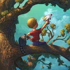 A boy, a raccoon, and a tree.