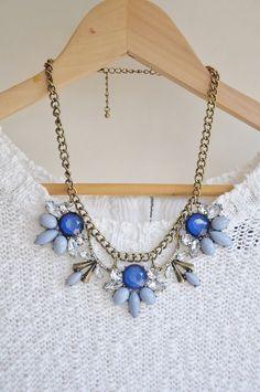 Blue Jewel Crystal Statement Necklace