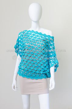 Outstanding Crochet: Crochet pattern in work - soon in the shop - Off Shoulder Seamless Turquoise Top.