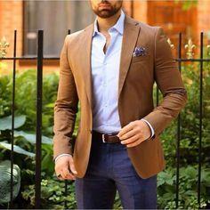 PARK AVE Camel blazer, lavender shirt and glen plaid navy slacks Blazer Outfits Men, Mens Fashion Blazer, Mens Fashion Blog, Suit Fashion, Fashion Outfits, Fashion 2016, Style Fashion, Lavender Shirt, Camel Blazer
