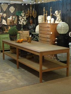 19th century French drapers table- would be FABulous island!