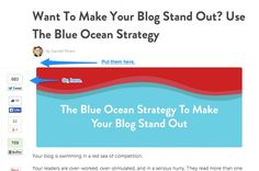 The best place to put social media sharing buttons is above or to the left of your content. #socialmedia (Use Blue Ocean Strategy)