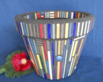 "Mosaic Flower Pot/Planter Bright Multi Colored Original Mid-Century Modern Design - Garden Art - 10"" Flower Poy"