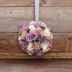 Rose, carnation, wax flower and brunia berry pomander Wedding Fun, Wedding Bells, Wedding Table, Bridesmaid Flowers, Flower Bouquet Wedding, Wax Flowers, Pink Flowers, Pink Flower Arrangements, Beautiful Bouquets