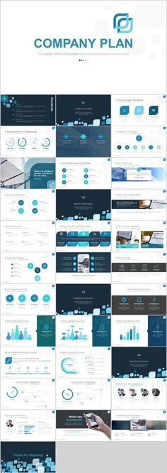 Business infographic : Blue Company Charts Plan PowerPoint template on Behance #powerpoint #templates #