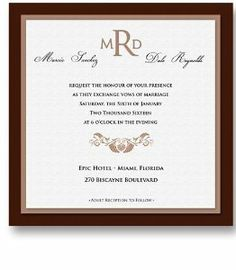 250 Square Wedding Invitations - Vizcaya Chocolate by WeddingPaperMasters.com. $637.50. Now you can have it all! We have created, at incredible prices & outstanding quality, more than 300 gorgeous collections consisting of over 6000 beautiful pieces that are perfectly coordinated together to capture your vision without compromise. No more mixing and matching or having to compromise your look. We can provide you with one piece or an entire collection in a one st...