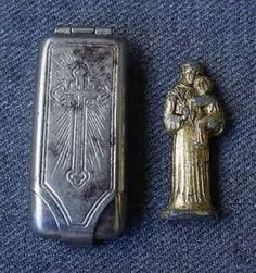 Antique German Locket Pocket Shrine ... Miniature St. Anthony Figurine