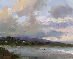 """Daily Paintworks - """"Seascape During Sunrise Carmel Beach"""" - Original Fine Art for Sale - © Roos Schuring"""