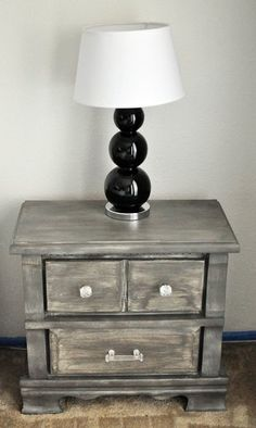 """How to refinish furniture to make it look like the Restoration Hardware things I covet..."" Used this technique on an old pie safe for my dining room. It looks awesome... Super cool driftwoody-grey color. Like it came straight from the Restoration Hardware catalog! restoration hardware, color, restor hardwar, weathered wood, restore furniture, night stands, diy furniture refinishing, painting tutorials, refinish furnitur"