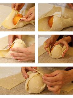 Wrapping #peach in #pastry #dough.