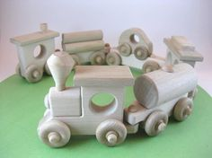 Wooden Toy Train Set 6 Cars, Natural Wood Toddler Toy
