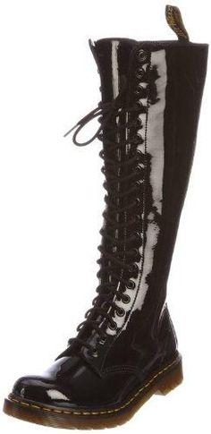Dr Martens Womens 1B60 20-Eye Boot Black Patent Size 5 UK 7 US