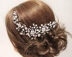 Pedazo del pelo pelo vid boda pelo pieza novia Haedpiece novia Haedpiece novia vid flor del pelo novia adorno rosa cristal Bridal
